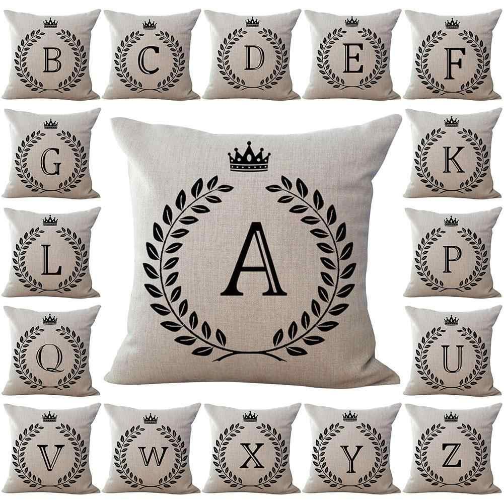 Zdejmowany rzut poszewka na poduszkę 45*45 angielska litera korona lniane poszewki na pościel poduszki dekoracyjne poszewka na poduszkę Sofa poszewki na poduszki