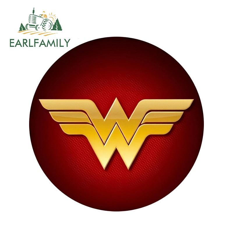 EARLFAMILY 13cm x 13cm 3D Car Stickers Wonder Woman Logo Super Hero Marvel Window Decal On Truck Car Skateboard Rear Windshield
