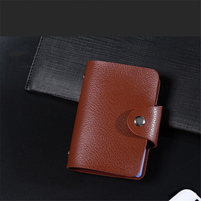 ZOVYVOL 24 Bits Credit Card Holder Women Men ID Wallet Solid Colorful Button Small Purse Soft Leather Bussiness Mens Money Bag 2