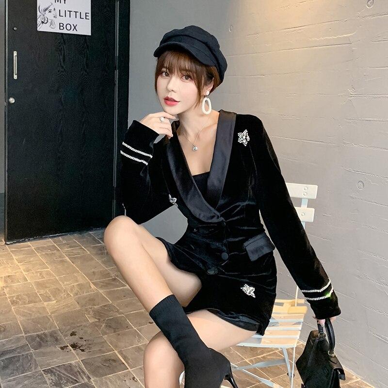 Nouveau velours noir Satin diamant étoiles costume robe femmes 2019 automne dames élégant Double boutonnage à manches longues robes de bureau - 4