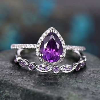 Boho Female Purple Water Drop Ring Set Fashion Silver Love Engagement Amethyst Ring Vintage CZ Wedding Rings For Women 3