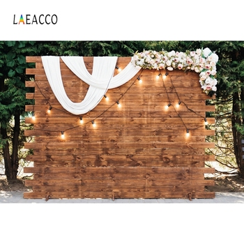 Laeacco Wedding Photophone Wooden Board Wall Light Trees Party Photography Backgrounds Photographic Backdrops For Photo Studio