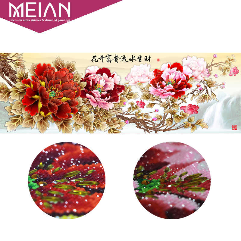 Meian 5D Diamond Painting Flower Peony Special Shaped Diamond Embroidery 3D Diamond Mosaic Home Decoration Christmas 2019