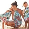 Sleeveless Mama Und Mich Kleider Familie Passenden Mutter Tochter Kleidung Frauen Kinder Mädchen Floral Strand Mini Kleid Familie Aussehen