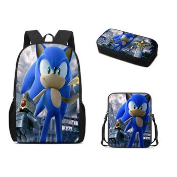 Custom Pattern Sonic 3Pcs/set School Bag Children Backpack Boy Girl School Backpack Series Student Bag 3D Printing Backpack marilyn manson rock band school bag noctilucous backpack student school bag notebook backpack daily backpack
