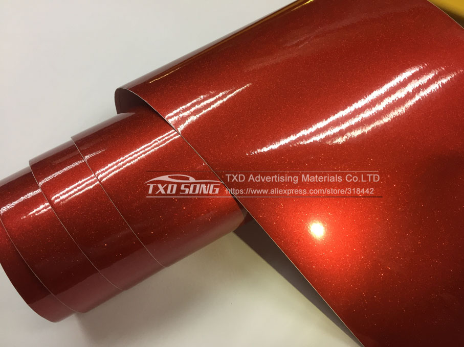 Image 2 - Premium High glossy Red Diamond pearl glitter wrapping vinyl film Glossy red diamond glitter car sticker 12/30/50/60*100CM/LOT-in Car Stickers from Automobiles & Motorcycles