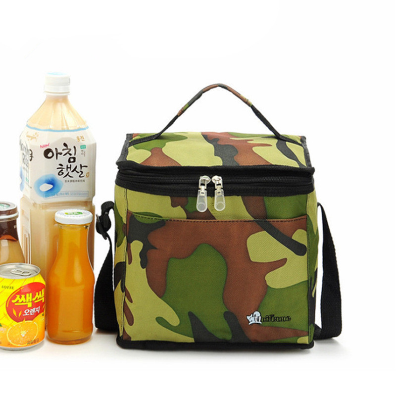 Camouflage Oxford Insulated Lunch Bags box Foil Film lining school Food Bag men Picnic bags for food drink keep Cold ,warm image