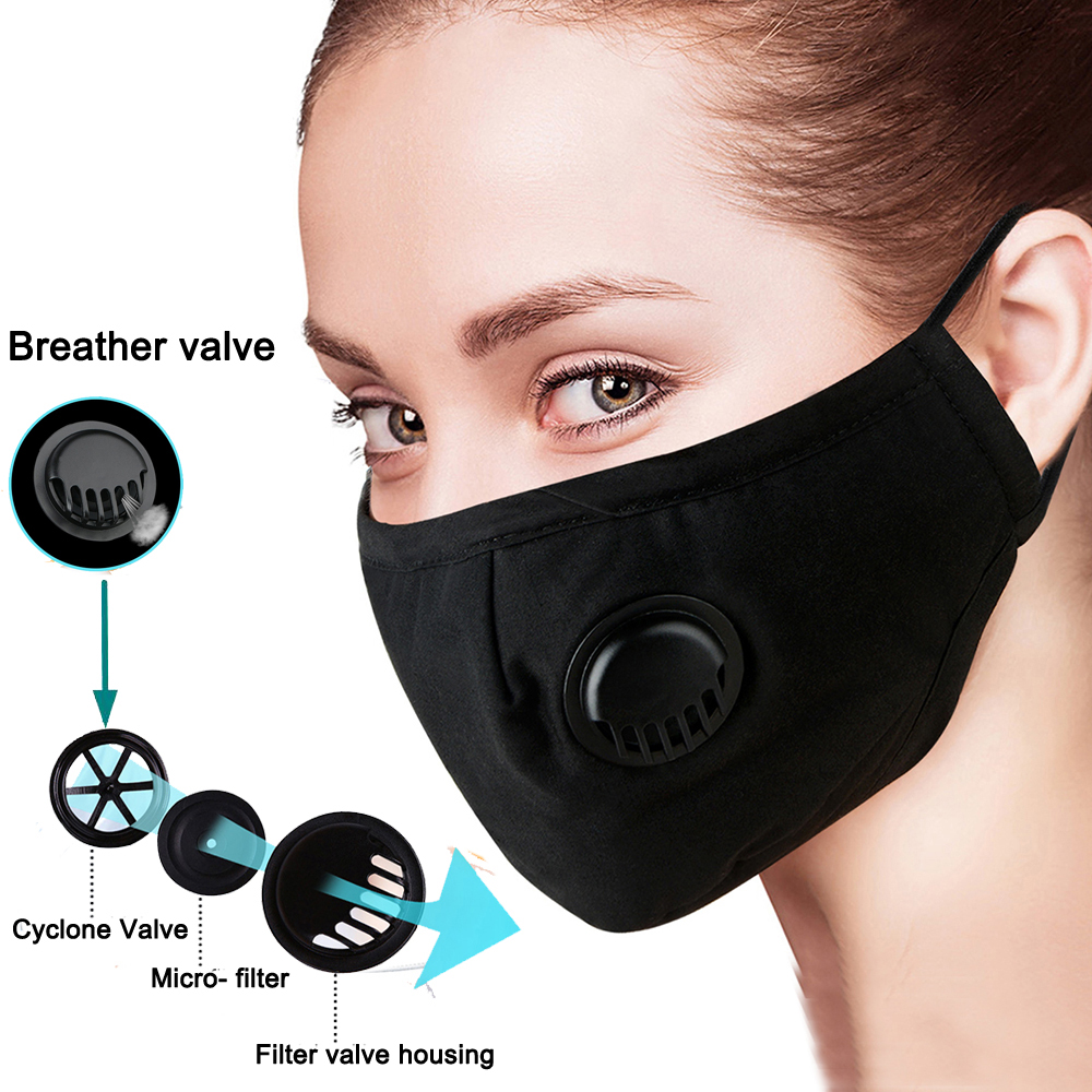 Black PM2.5 Anti Haze Mask Breath Valve Anti-dust Cotton Mouth Masks Activated Carbon Filter Respirator Mouth-muffle Face Mask