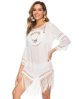 2020 Sexy Lace Hollow Crochet Beach Cover Up Women Bikini Cover Up Beach Dress Tunics Swimsuit Bathing Suits Cover-Up Beach wear 13