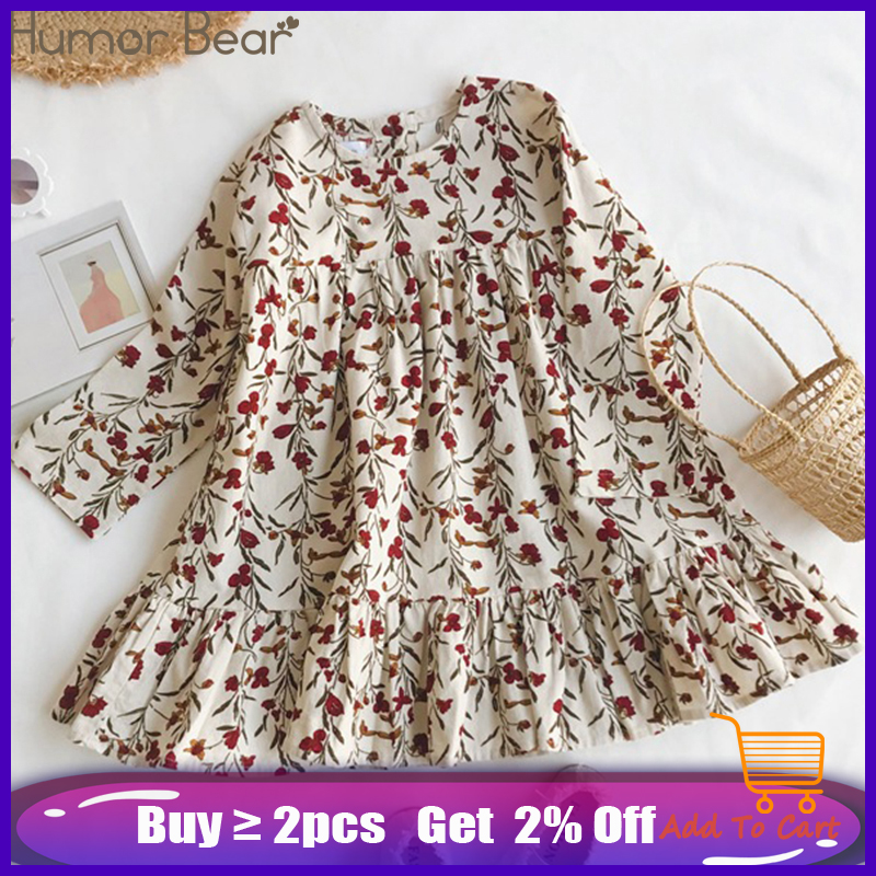 Humor Bear Children Clothing Dress New Lovely  Princess Dress Children Clothes Printing Flowers Kids Dresses Girls Dress