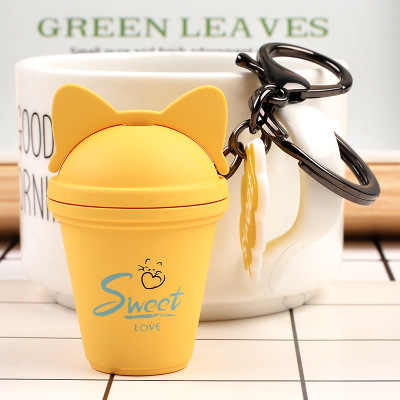 Korean Creative Cute Cat Milk Tea Cup Keychain Car Attachments Student Bag Keychain