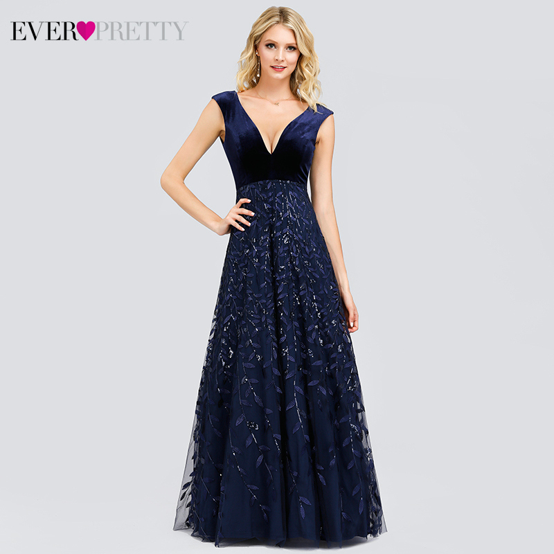 Elegant Navy Blue Prom Dresses Ever Pretty Sequined A-Line Double V-Neck Tulle Evening Party Gowns Vestidos Ceremonia Mujer 2019