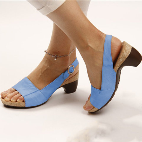 2020 Woman Sandals Slippers Summer Style Wedges Pumps High Heels Buckle Starp Fashion Gladiator Peep Top Pump  Zapatos De Mujer