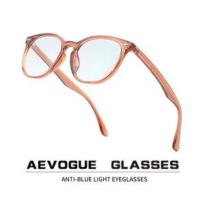 Image 1 - AEVOGUE gafas de protección contra luz azul para hombre y mujer, anteojos ópticos con montura graduada, gafas poligonales AE0787