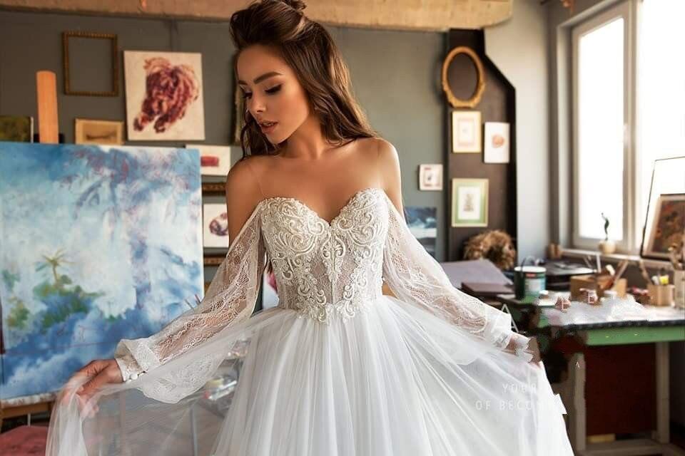 Vestido de casamento boêmio, elegante, praia, manga