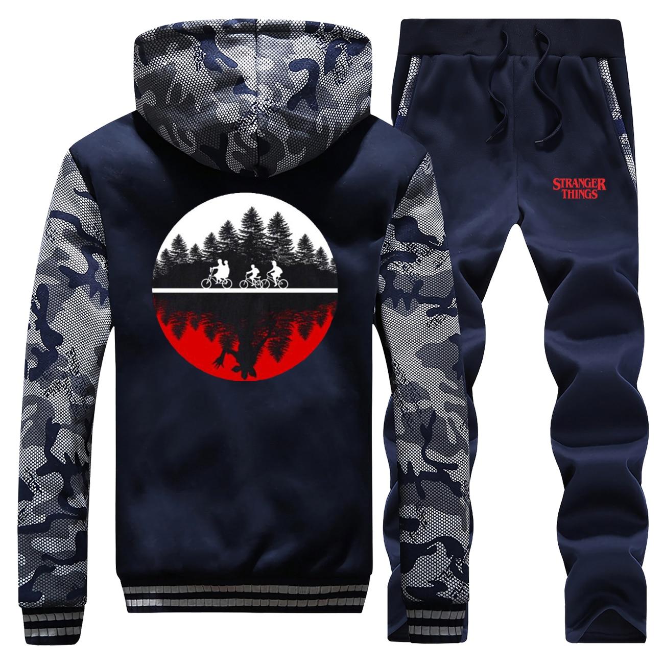 Cartoon Men's Hooded Coat+Pants 2Pcs Set Casual Jacket Tracksuit Man Winter Warm Fleece Suit Printed Letter Men's Sports Suit