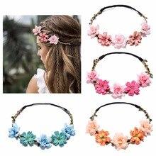 Corona de flores para novia, diadema Floral para boda, guirnalda de flores para niña, accesorios elásticos para el cabello, tocado de boda para fiesta
