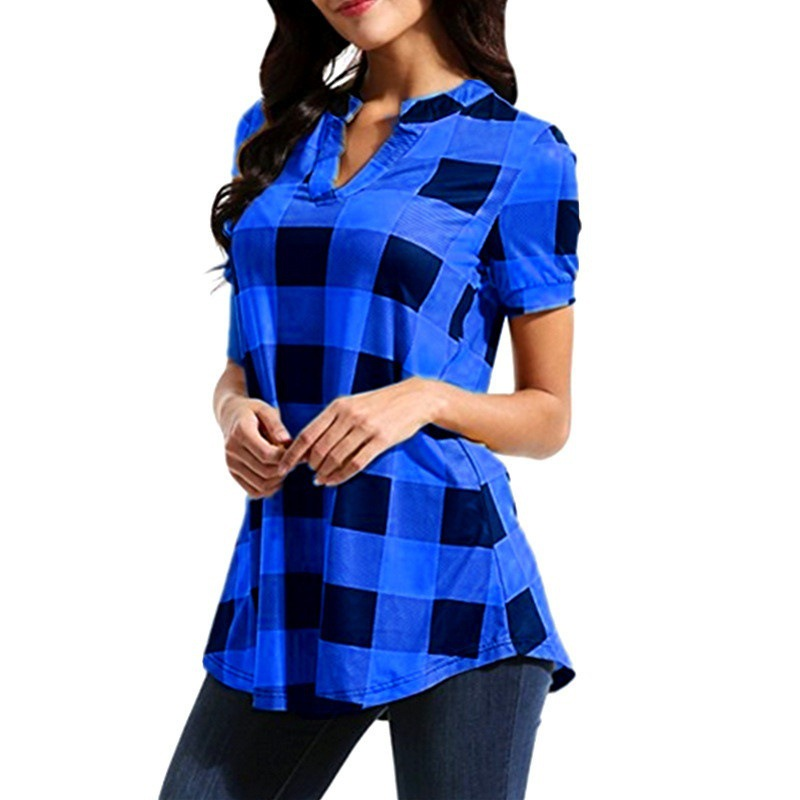 women blouse fashion 2020  female ladies clothing womens  plaid printed sexy v-neck short sleeve top shirt top 90s