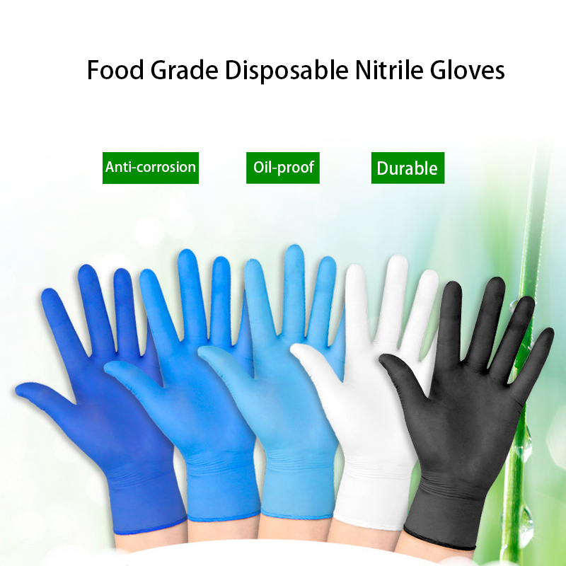 100pcs Disposable Black Nitrile Gloves Waterproof Exam Gloves Ambidextrous For Medical House Tattoo Gloves Mechanic S/M/L/XL
