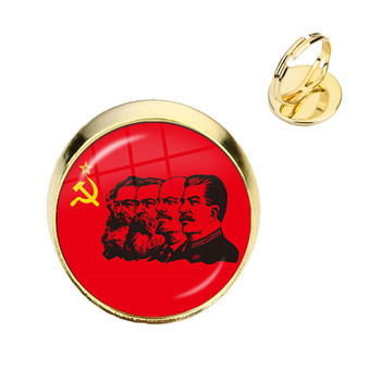 Soviet USSR Stalin Lenin Adjustable Rings Classic Red Star Hammer Sickle Communism Emblem CCCP Glass Cabochon Jewelry Gift image
