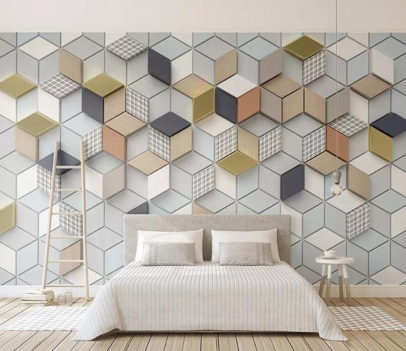 Customized New 3d Geometric Rhombus Plaid Living Room Bedroom Background Wallpaper Mural