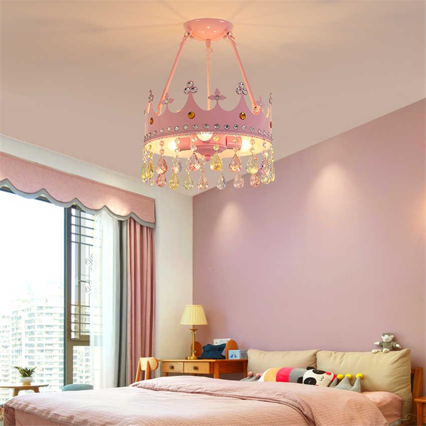 Nordic Merah Muda Anak-anak Kamar Mahkota Warna Lampu Liontin Hidup Kamar Tidur Gadis Crystal Cute Princess Room Deco Liontin Lampu