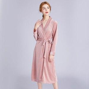 Image 2 - Sonbahar yeni kadın kadife elbise gelinlik pijama nakış gelinlik hırka elbise nedime gecelik pijama