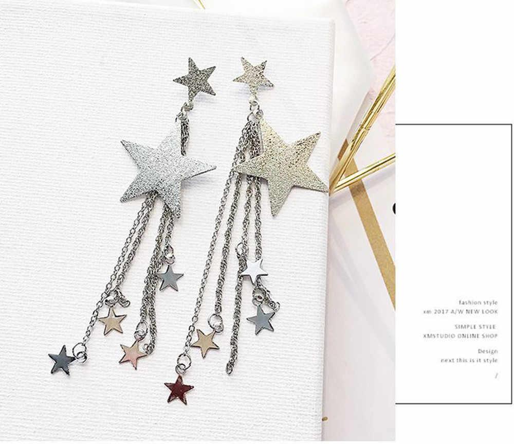 Pendientes mujer moda lungo 2019 earing Sequin delle donne 1pair Shooting star Pentagram Nappe penzoloni Orecchini a pendaglio Oro Argento