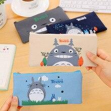 цены cute kawaii cartoon animal Totoro cat zipper pencil case pencil box pen bag kid office stationery school supplies Organizer gift