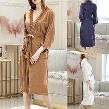 Unisex Bathrobe Women Robe Femme Men Nightwear Cotton Breathable Solid Color Splicing Home Clothes Coat 2020