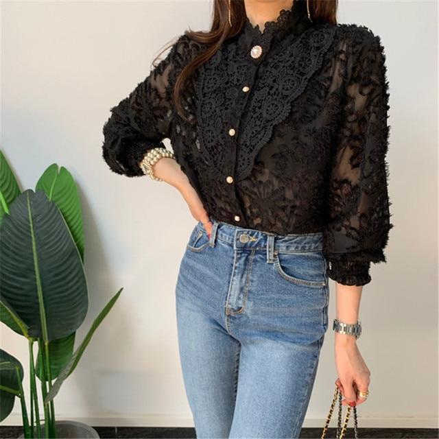 Women Crochet Lace Blouses Women Korean Ladies Solid Color Stand Collar Long Sleeve Blusa Vintage Blouse Spring Shirt Tops 4