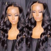 Wigirl 13x4 perucas de cabelo humano brasileiro 150% onda do corpo fechamento do laço perucas para preto peruca bob pré arrancadas com cabelo do bebê