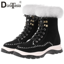 DORATASIA New Big Size 34-41 Fur Boots Brand Cow Suede Non-slip Snow Shoes Woman Casual Winter Warm Ankle Women