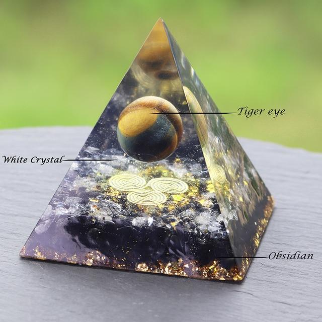 Orgonite Pyramid Chakras Tiger Eye Orgon Energy Crystals Obsidian Original Home Office Decor Resin Reiki Gift Decoration 6
