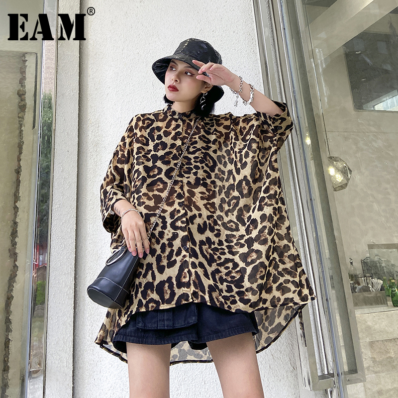 [EAM] Women Leopard Printed Thin Big Size Chiffon Blouse New Stand Collar Loose Fit Shirt Fashion Spring Summer 2020 1U011