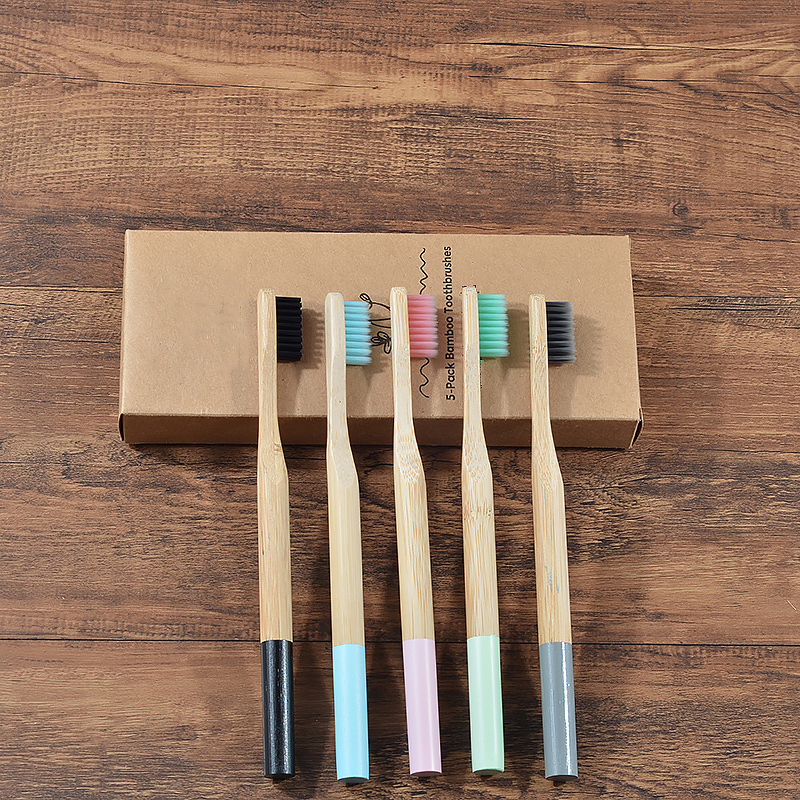 Natural Bamboo Toothbrush Multicolour Brush Toothbrush  Round Bamboo Handle Soft Bristle Toothbrush Adult Toothbrush