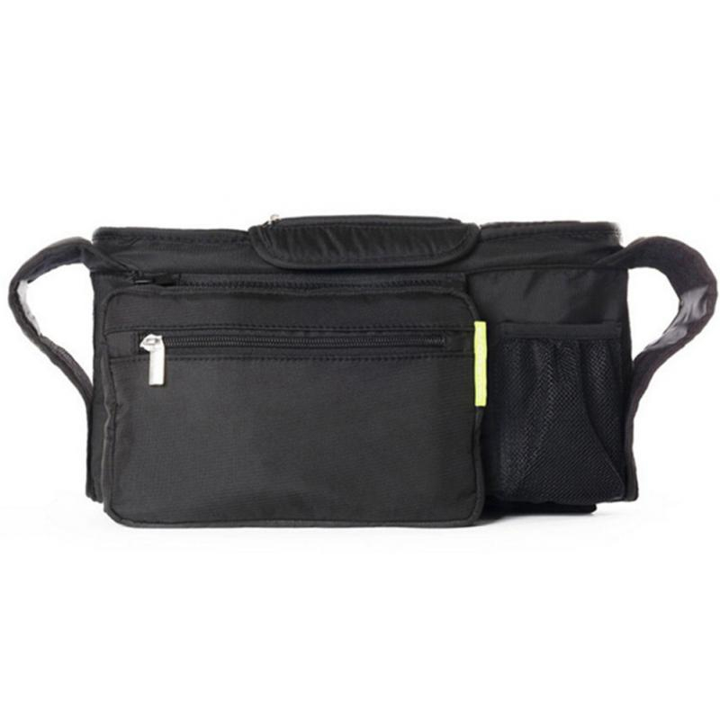 AUAU-Storage Bag Diapers Black Pannier Mommy Baby Stroller Toys Cup Holders