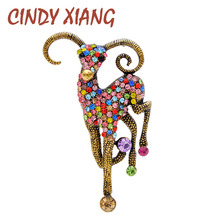 CINDY XIANG 2 Colors Choose Rhinestone Vivid Goat Brooches For Women And Men Unisex Animal Pin Vintage Fashion Jewelry Good Gift