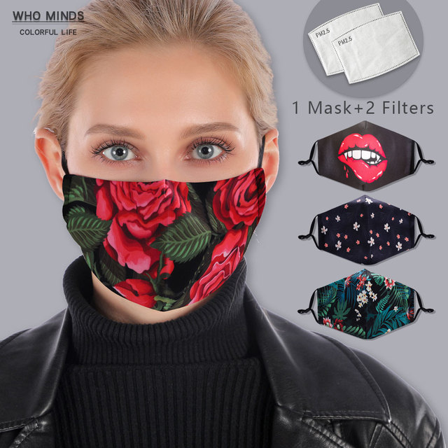 Cotton Floral Reusable Face mask With Filter Washable Mask Adjustable Straps Women Mouth Mask Flu Windproof Anti Mouth-muffle