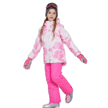 Children's Ski Jacket Thickened Girl's Snow Clothing Snowboarding Sets waterproof Sports wear Kids clothes outdoor -20-30 degree