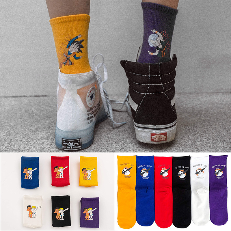 Funny Dragon Ball Cartoon Anime Street Fashion Long Socks Unisex Happy Hip Hop Skateboard Socks Fashion Personality Cool Socks