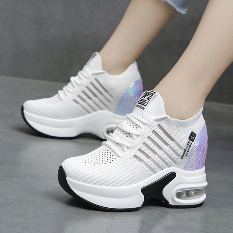 Women's Platform Wedge Shoes 9cm High Heel Increasing Ladies Casual Shoes Mesh Breathable Quality Woman Chunky Sneakers