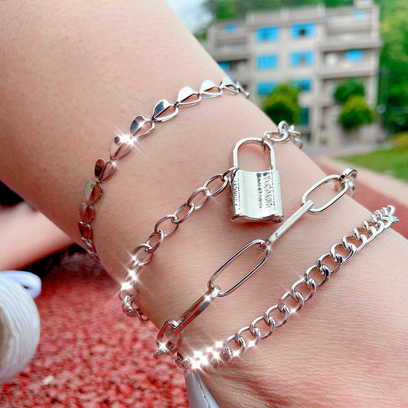 Cender Simple Style With Lock Anklet Silver Color Stainless Steel Foot Chain for Women Summer Beach Holiday Anklets Jewelry