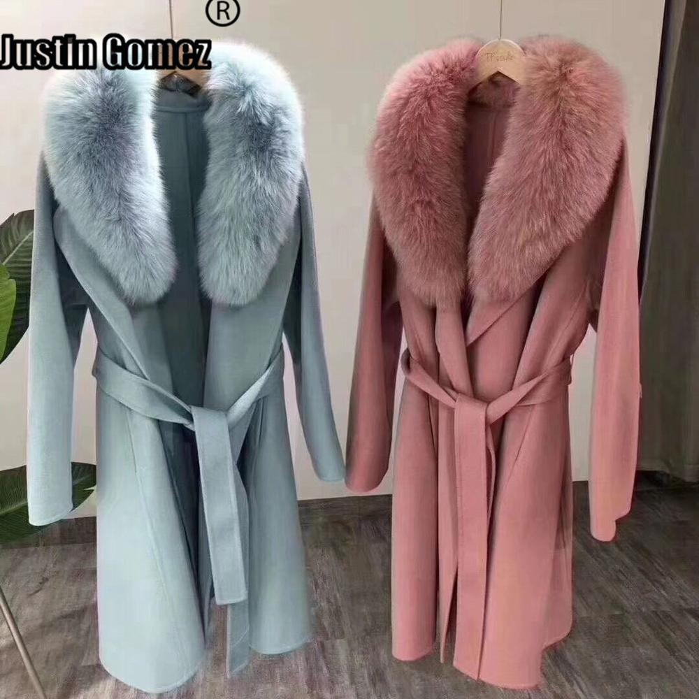 New Coming Long Loose Fox Fur Collar Wool Coat With Belt Thickening Warm High-end Fashion Cute Elegant Ladies Women Winter Coat image