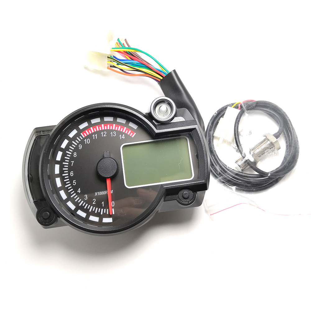 12V Motorcycle 13000 RPM Tachometer Km//h Speedometer Dual Odometer Gauge LED B00