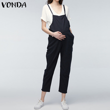 Купить с кэшбэком VONDA Maternity Clothings 2019 Pregnant Strap Rompers Womens Jumpsuits Casual Pregnancy Pants Sleeveless Trousers Overalls