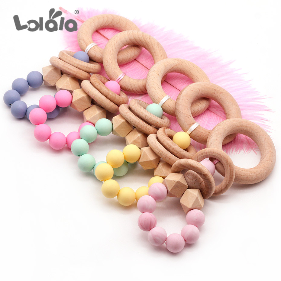 Wooden Elephant Bird Baby Toys Silicone Beads Teether Kids Play Gym Beech Wood Bead Hanging Pendant Decoration Toy Rattle Props