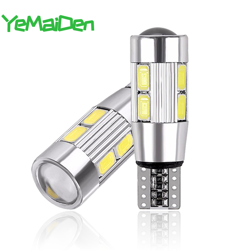 2x W5W T10 LED Canbus No Error 12V 6000K 5630 10 SMD Car 5W5 LED Bulb Clearance Wedge Side Turn Singal Light Super Bright White