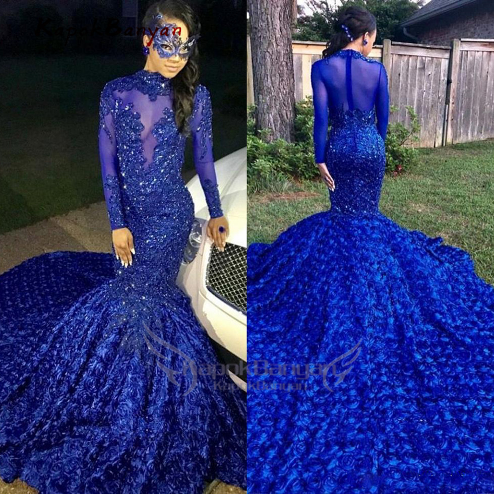 Black Girls Mermaid Long Prom Dresses Royal Blue Long Sleeves 3d Floral Skirt Lace Applique Beaded Formal Gowns