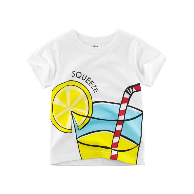 Jongens T-shirt Meisjes Kinderen Kinderen Tops Katoenen Kleding Korte Mouwen Zomer Kleding Print Cartoon Tee Wit Geel Oranje Blauw
